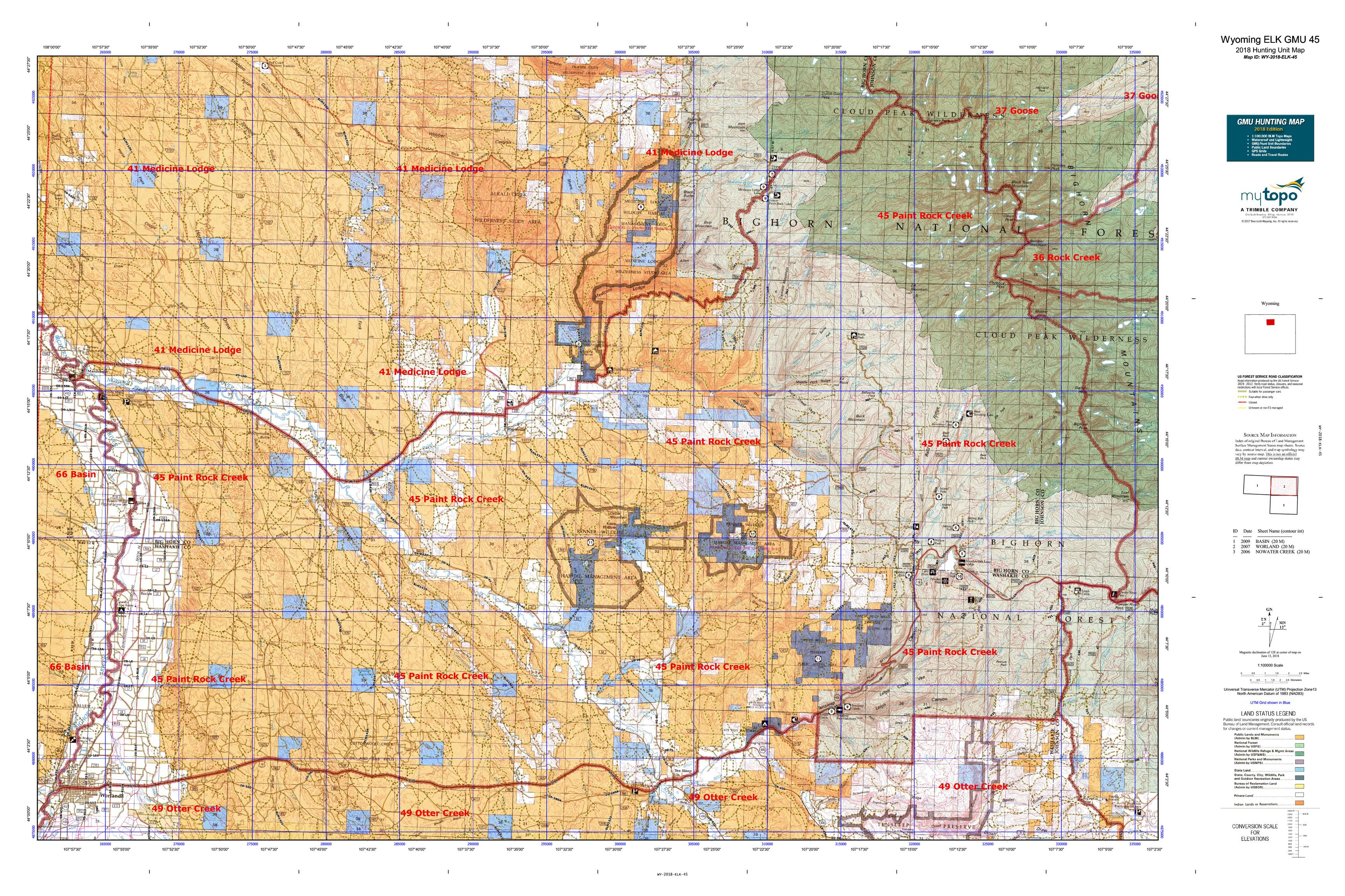 Wyoming ELK GMU 45 Map | MyTopo
