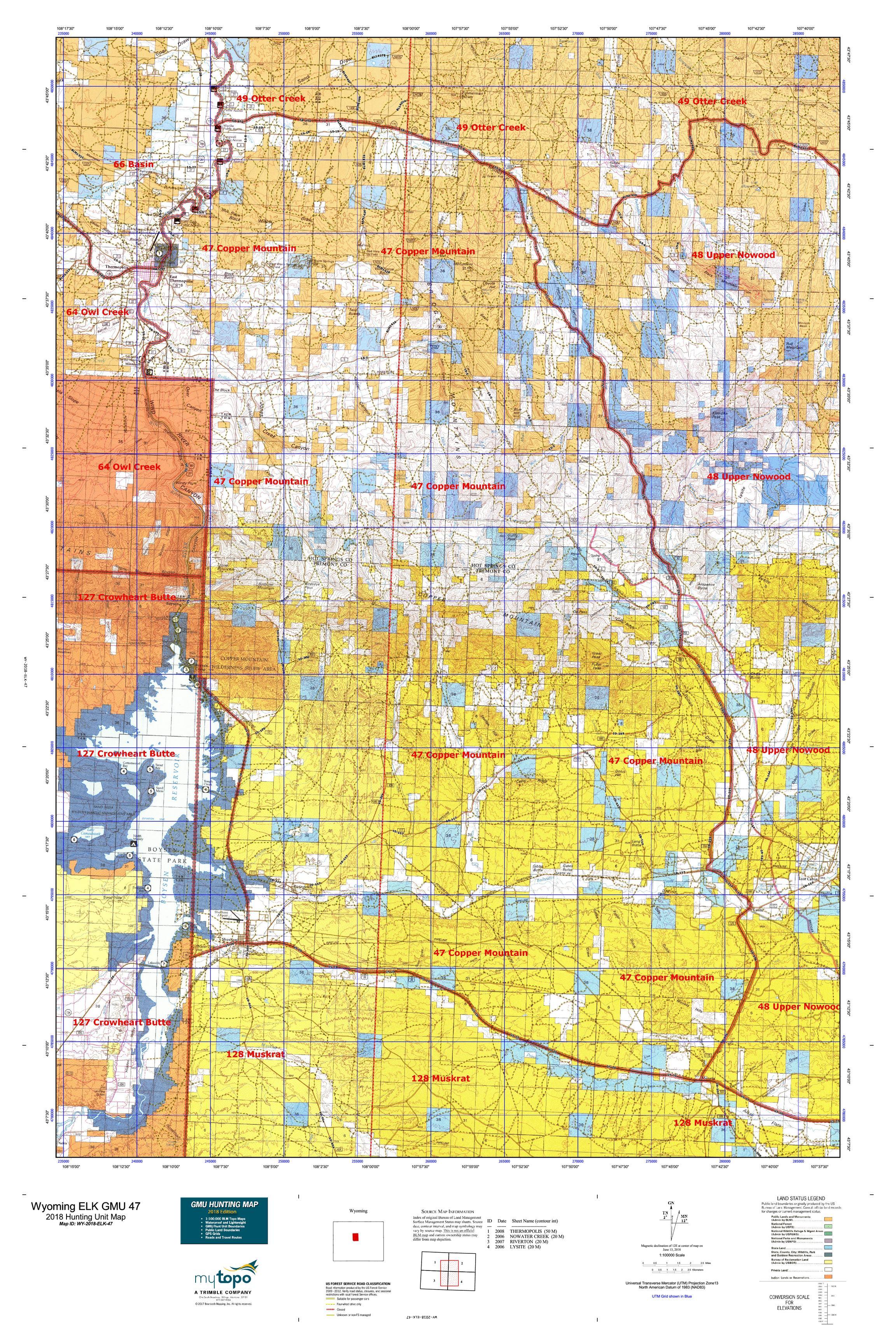 Wyoming ELK GMU 47 Map   MyTopo