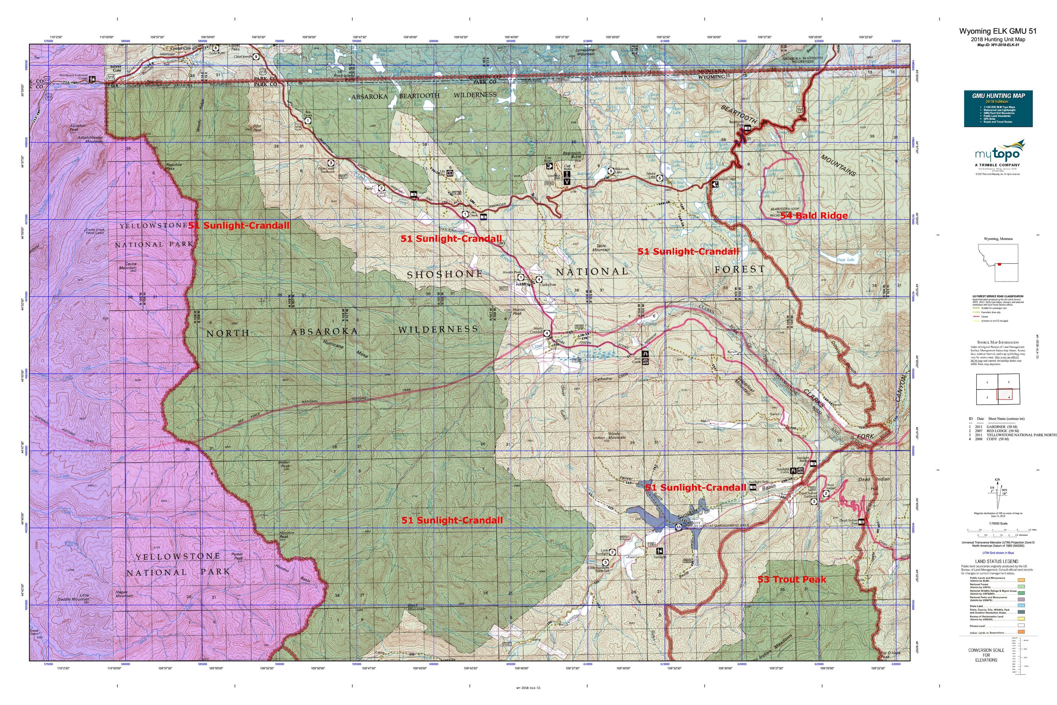 Wyoming ELK GMU 51 Map | MyTopo