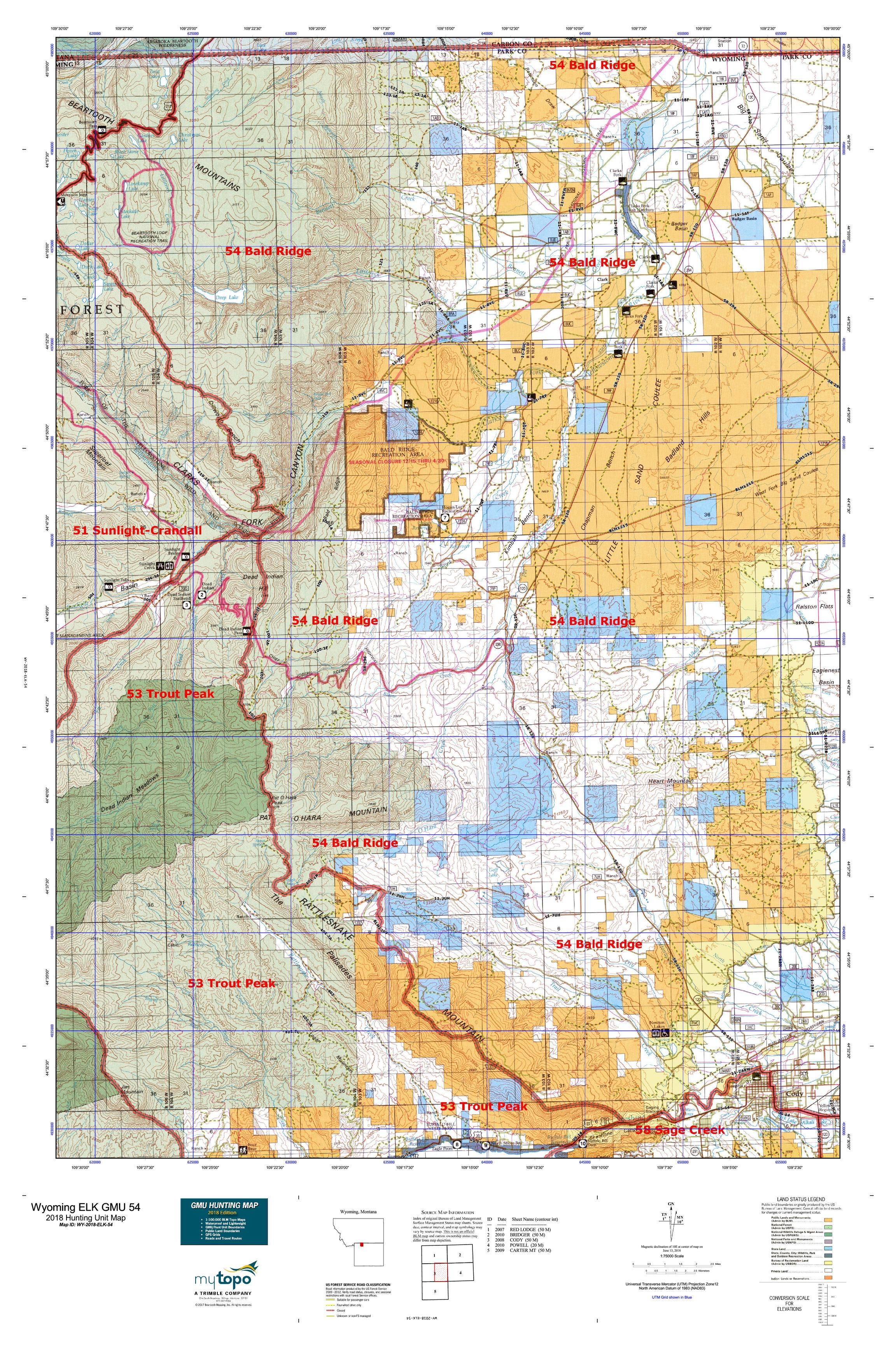 Wyoming ELK GMU 54 Map | MyTopo on