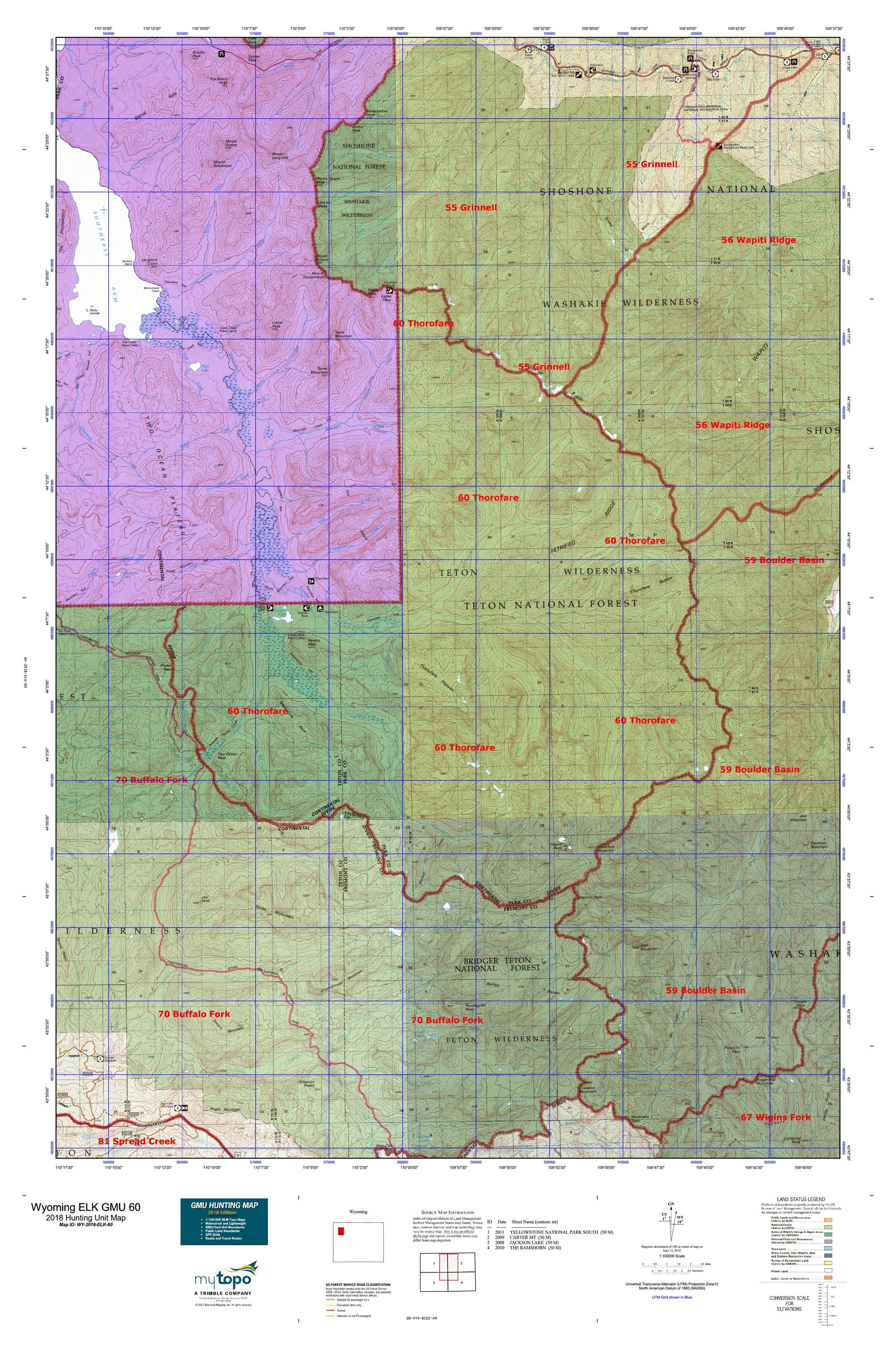 Wyoming Elk Gmu 60 Map Mytopo - Us-60-map