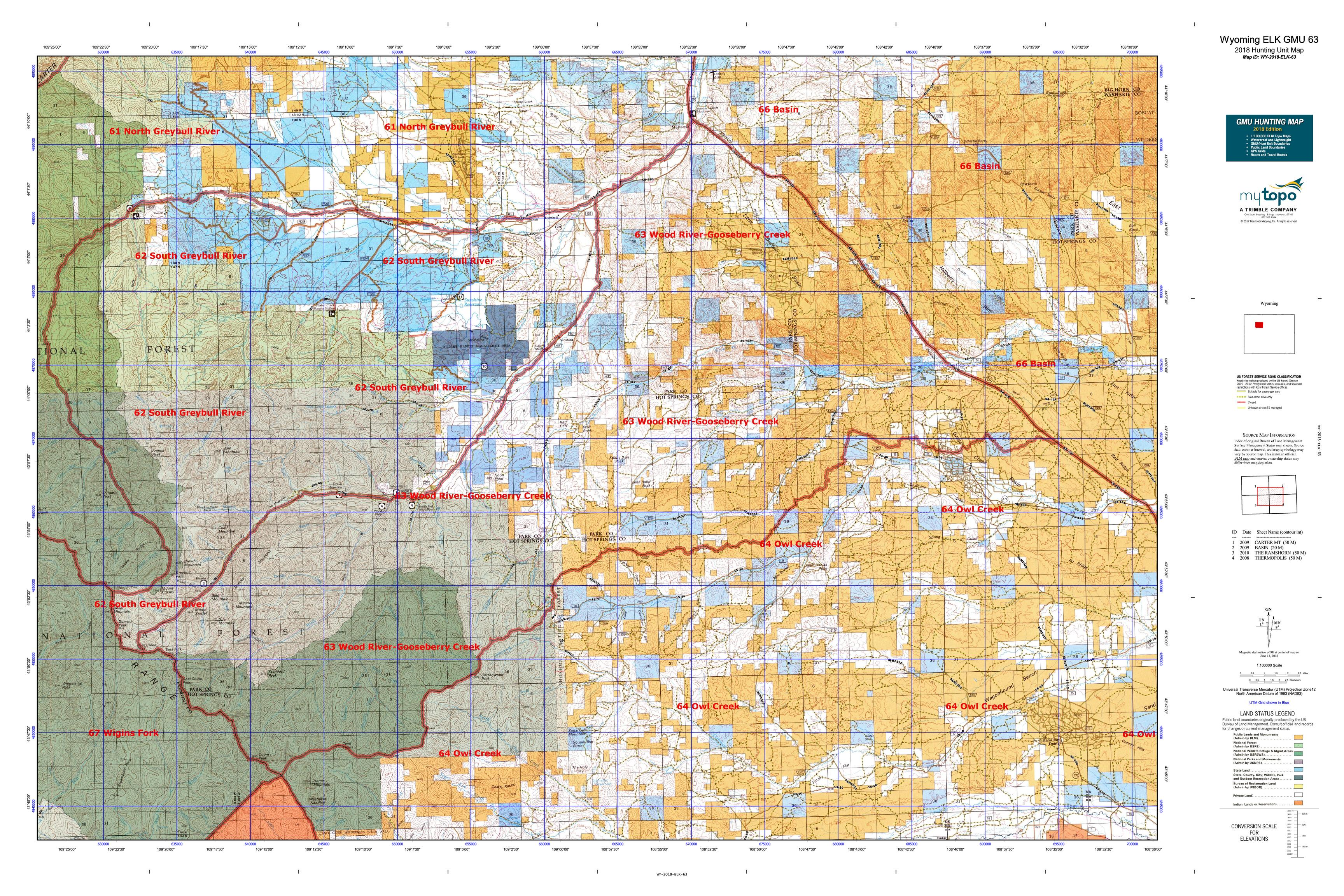 Wyoming Elk Gmu 63 Map Mytopo