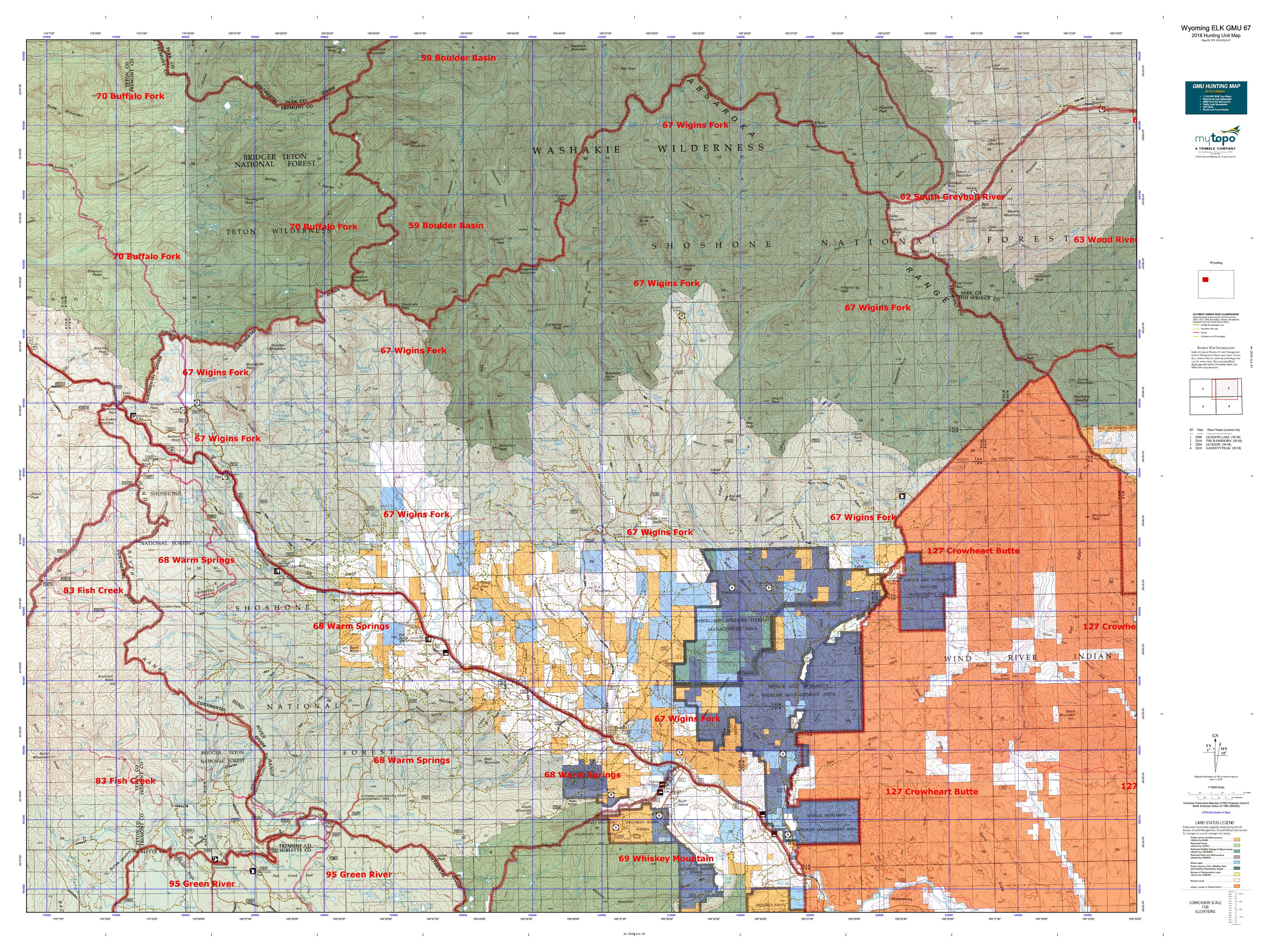 Wyoming ELK GMU 67 Map | MyTopo