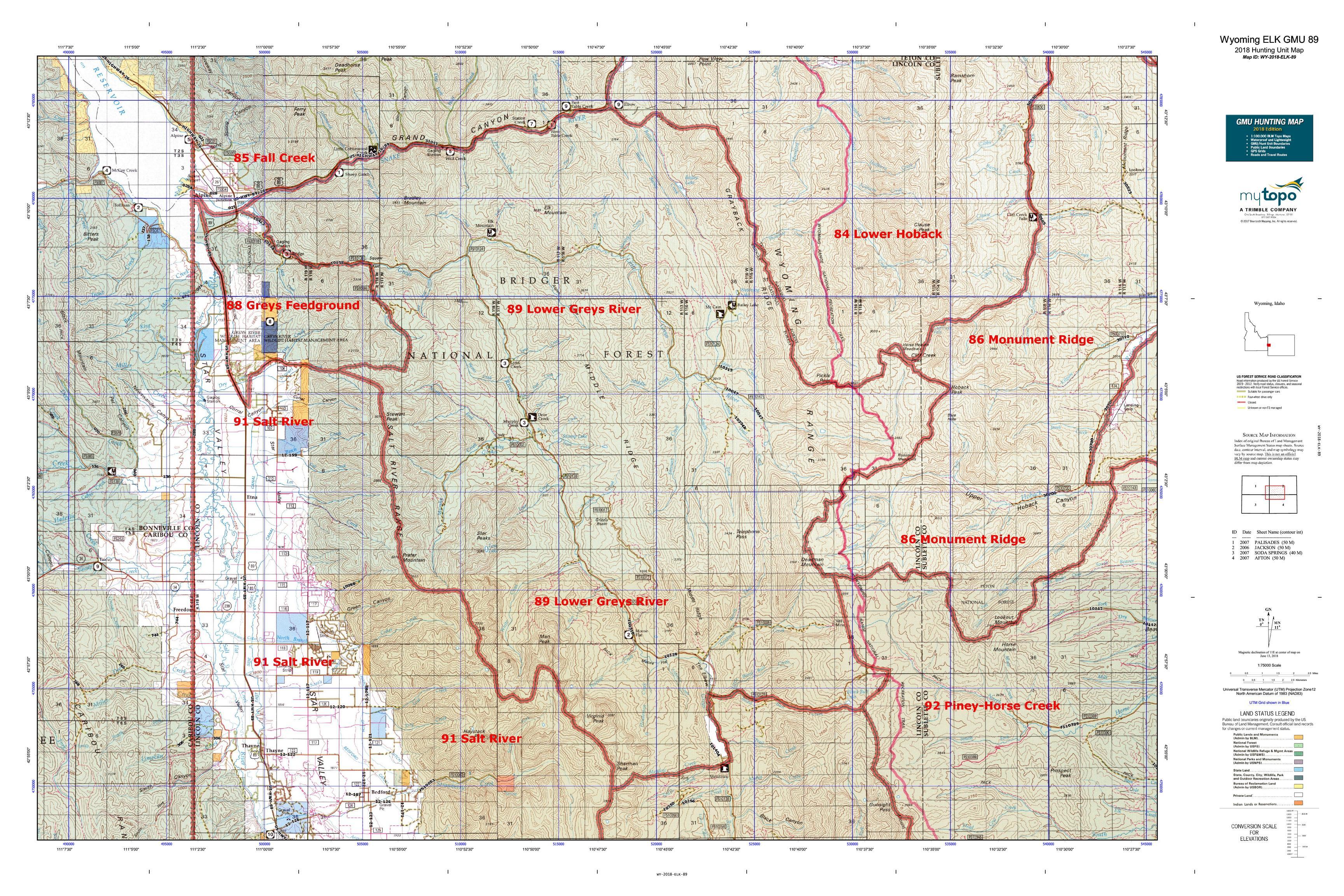 Wyoming Elk Gmu 89 Map Mytopo