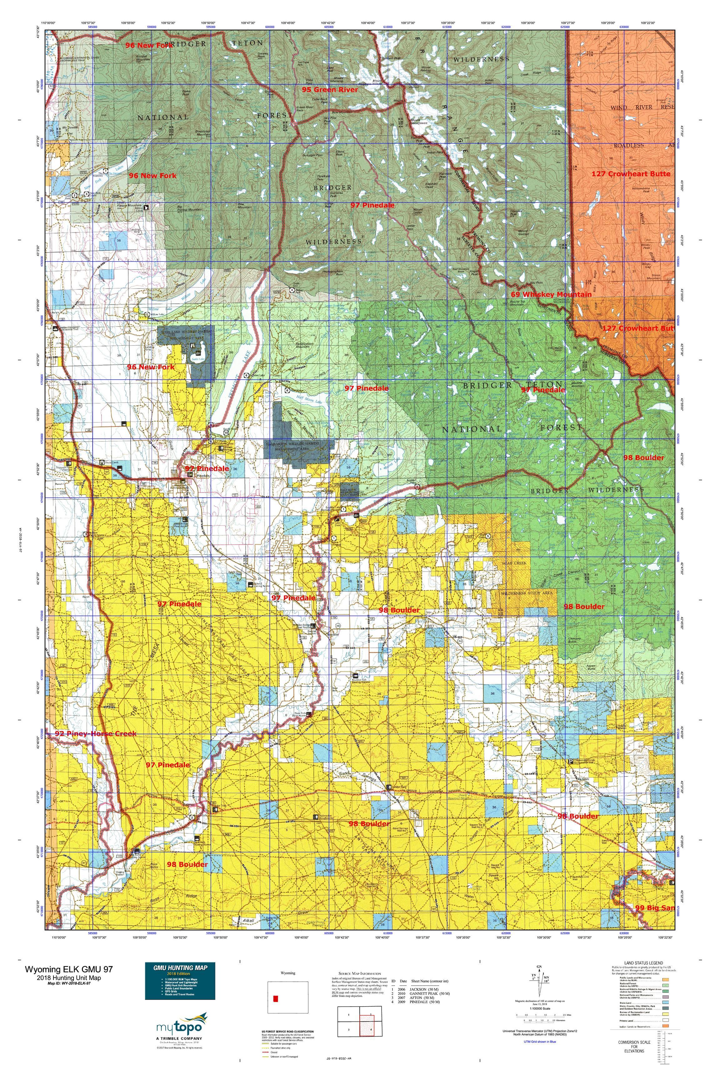 Wyoming ELK GMU 97 Map | MyTopo