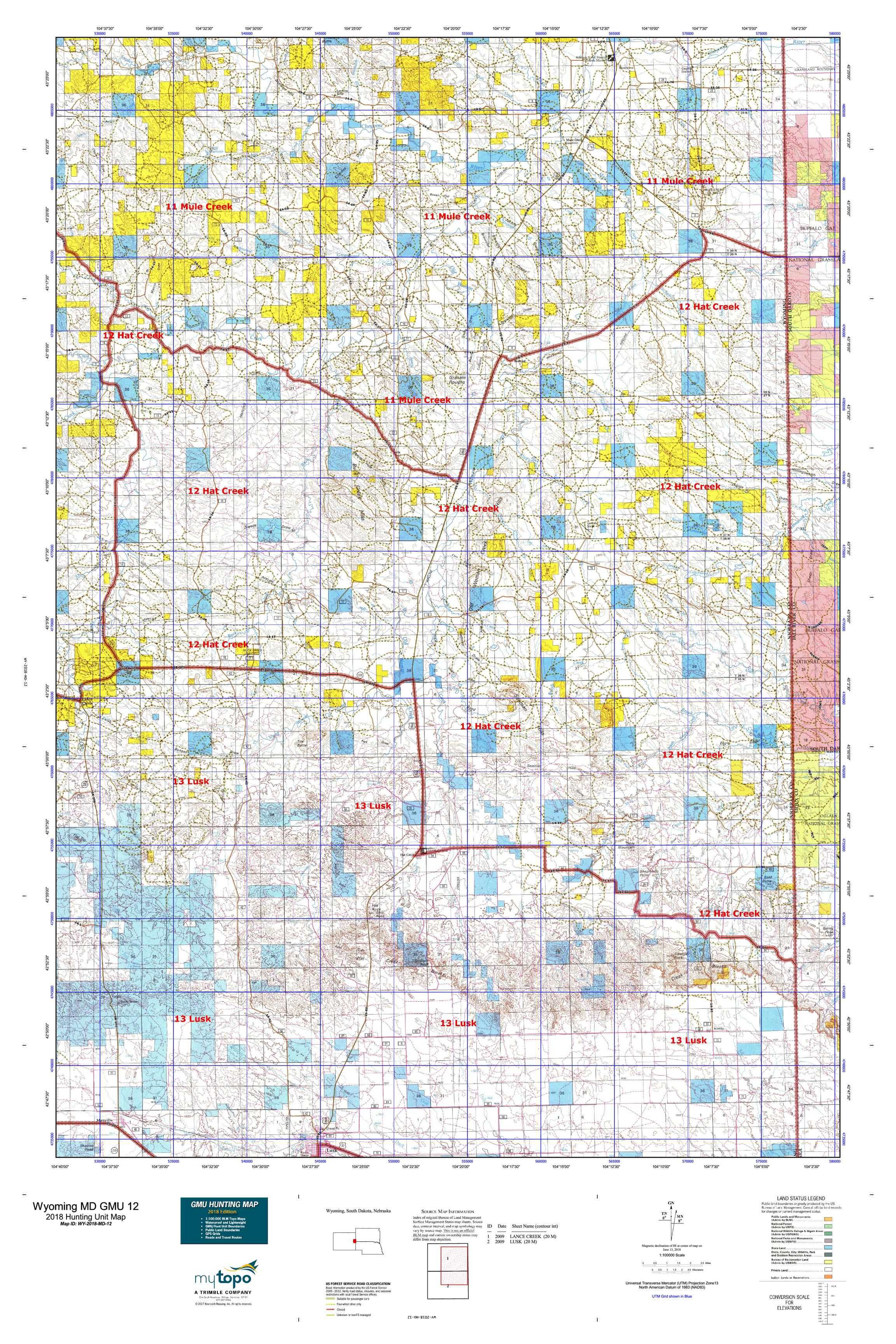 Wyoming MD GMU 12 Map   MyTopo