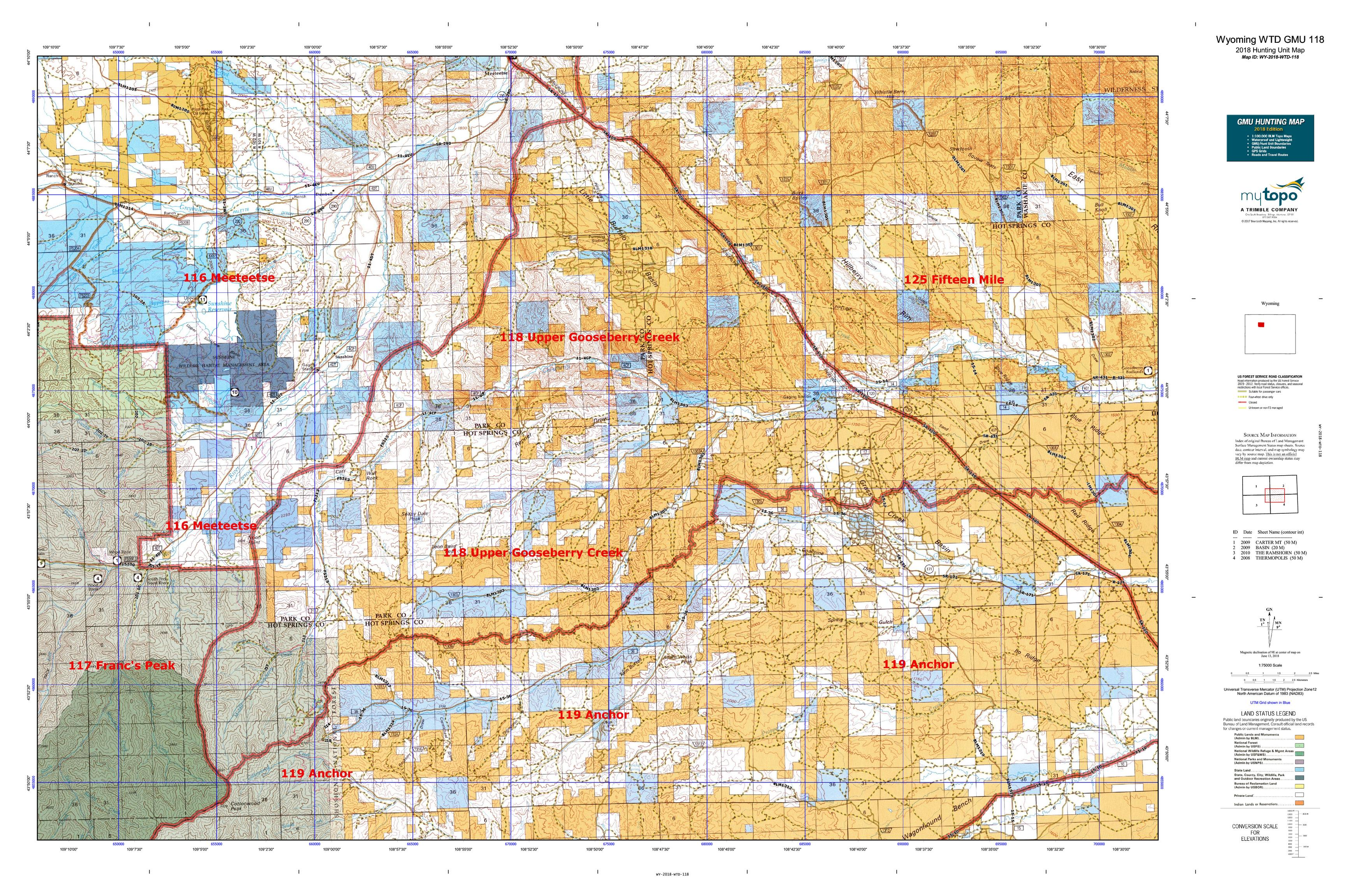 Wyoming WTD GMU 118 Map | MyTopo