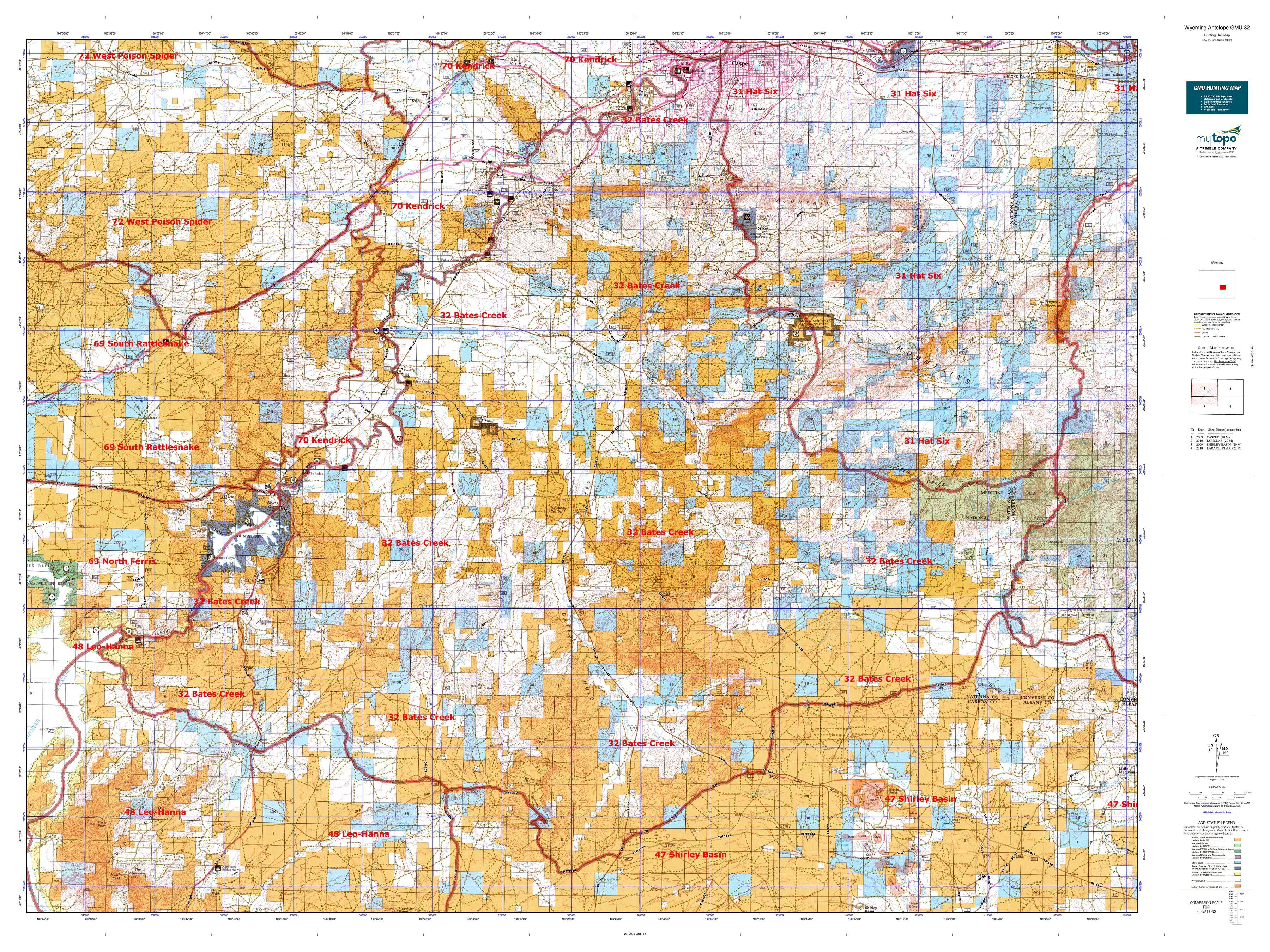 Wyoming Antelope GMU 32 Map | MyTopo