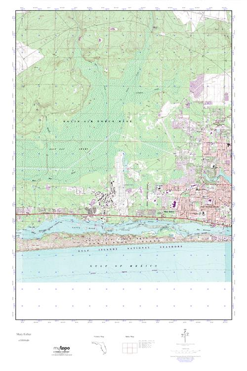 Mary Ester Florida Map.Mytopo Mary Esther Florida Usgs Quad Topo Map