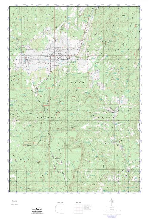 Map Of Young Arizona.Mytopo Young Arizona Usgs Quad Topo Map