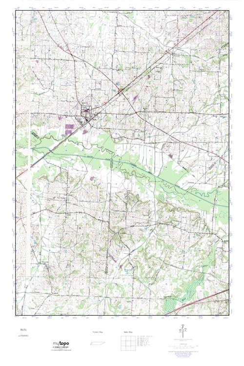 Bells Tennessee Map.Mytopo Bells Tennessee Usgs Quad Topo Map