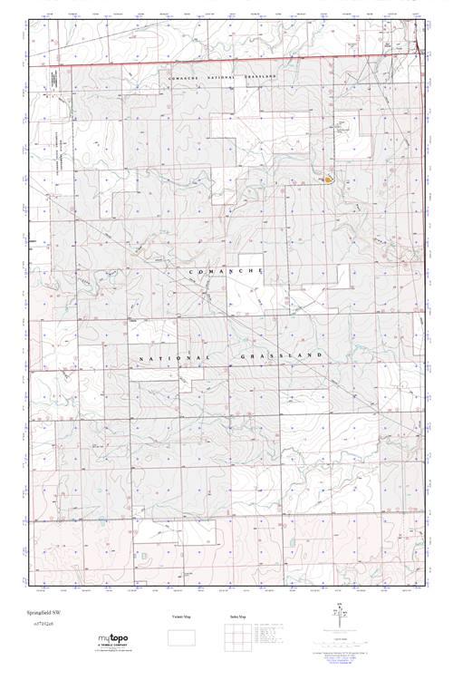 Springfield Colorado Map.Mytopo Springfield Sw Colorado Usgs Quad Topo Map