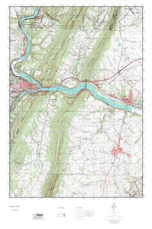 Harpers Ferry Virginia Map.Mytopo Harpers Ferry West Virginia Usgs Quad Topo Map