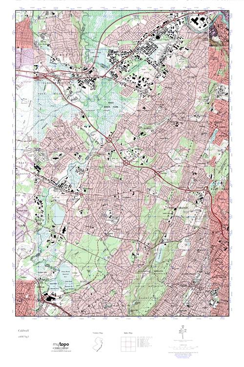 Caldwell New Jersey Map.Mytopo Caldwell New Jersey Usgs Quad Topo Map