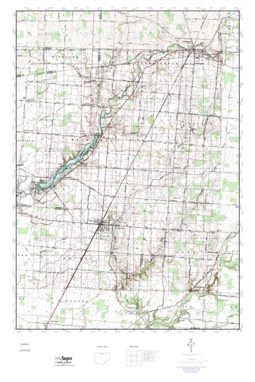 Ashley Ohio Map.Mytopo Ashley Ohio Usgs Quad Topo Map