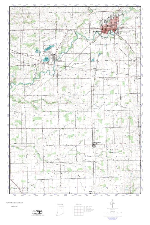 North Manchester Indiana Map.Mytopo North Manchester South Indiana Usgs Quad Topo Map