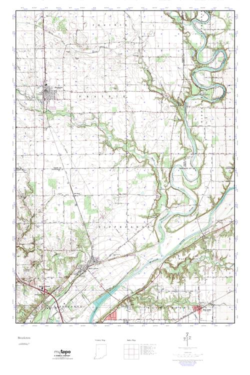 Mytopo Brookston Indiana Usgs Quad Topo Map