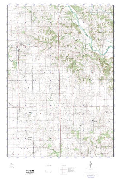 Salem Iowa Map.Mytopo Salem Iowa Usgs Quad Topo Map