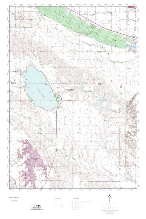 MyTopo Johnson Lake Nebraska USGS Quad Topo Map - Johnson lake map