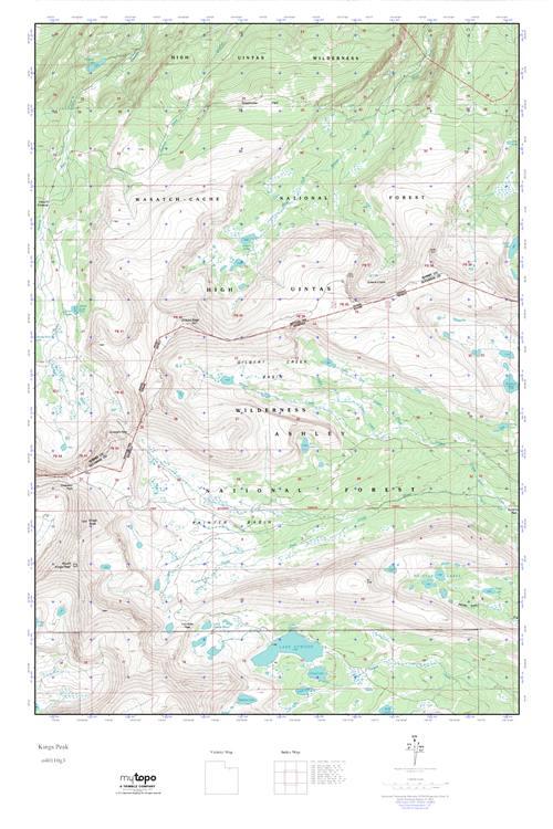MyTopo Kings Peak Utah USGS Quad Topo Map - Topographic map of utah