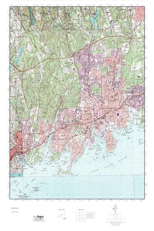 Topographic Map Ct.Mytopo Stamford Connecticut Usgs Quad Topo Map