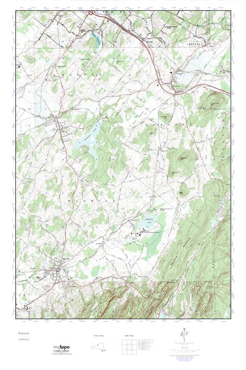 Mytopo Warwick New York Usgs Quad Topo Map