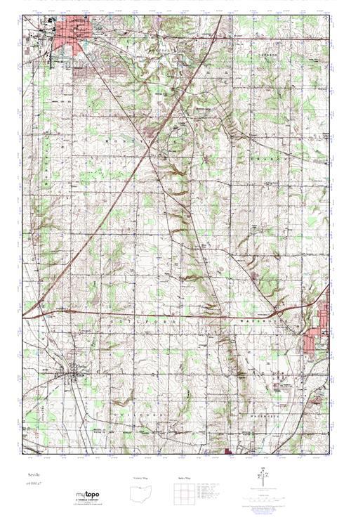 Mytopo Seville Ohio Usgs Quad Topo Map