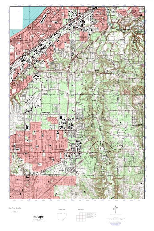Mayfield Ohio Map.Mytopo Mayfield Heights Ohio Usgs Quad Topo Map