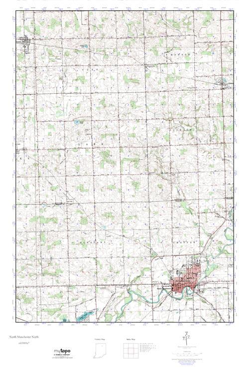 North Manchester Indiana Map.Mytopo North Manchester North Indiana Usgs Quad Topo Map