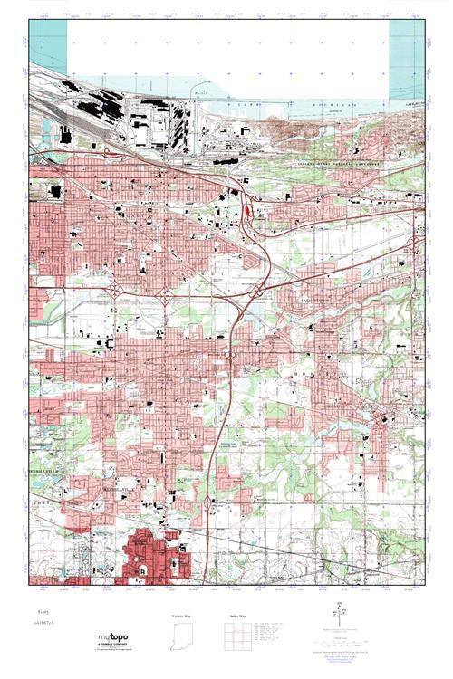 MyTopo Gary Indiana USGS Quad Topo Map