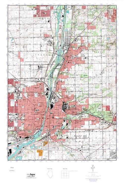 MyTopo Joliet Illinois USGS Quad Topo Map - Joliet map