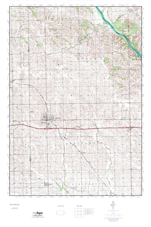 West Branch Iowa Map.Mytopo West Branch Iowa Usgs Quad Topo Map