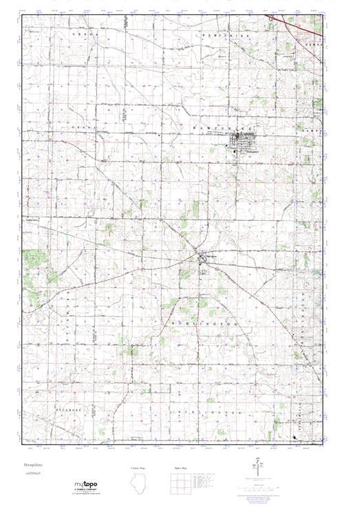 Hampshire Illinois Map.Mytopo Hampshire Illinois Usgs Quad Topo Map
