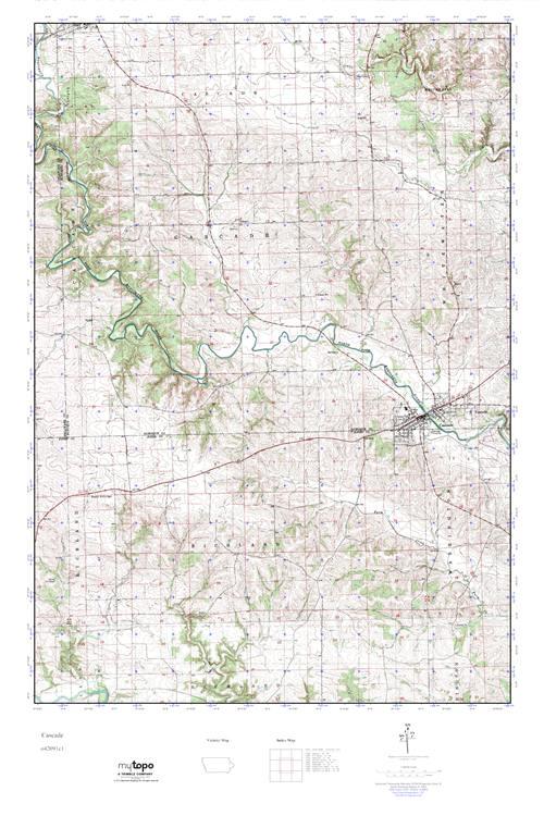 Cascade Iowa Map.Mytopo Cascade Iowa Usgs Quad Topo Map