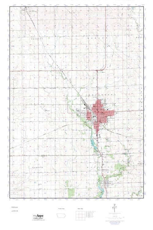 Oelwein Iowa Map.Mytopo Oelwein Iowa Usgs Quad Topo Map