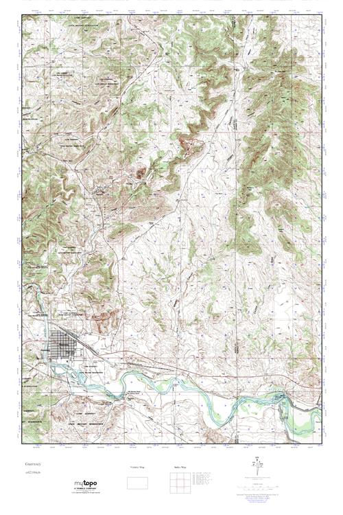 MyTopo Guernsey, Wyoming USGS Quad Topo Map on