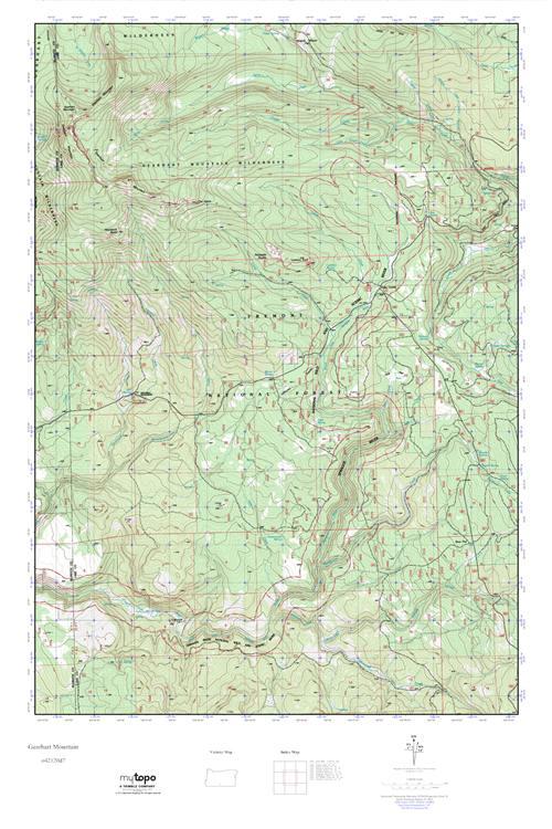MyTopo Gearhart Mountain Oregon USGS Quad Topo Map