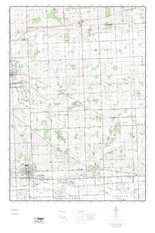 Ovid Michigan Map.Mytopo Ovid East Michigan Usgs Quad Topo Map