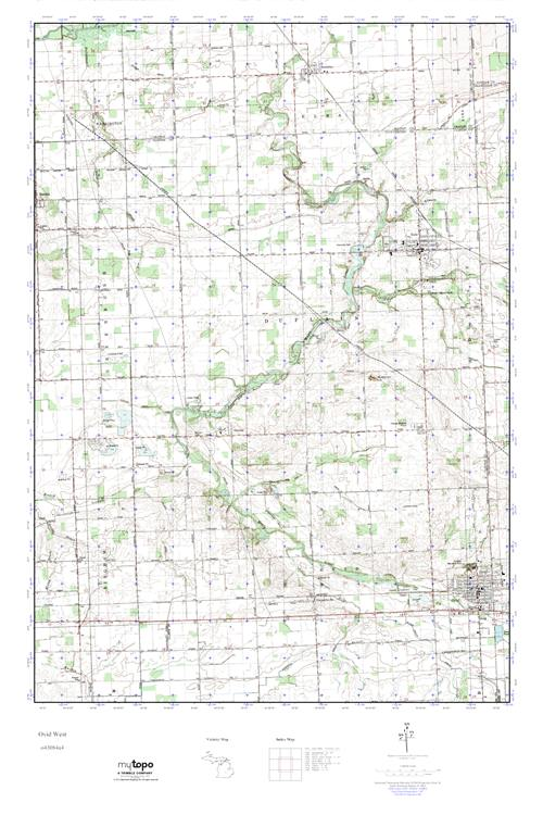 Ovid Michigan Map.Mytopo Ovid West Michigan Usgs Quad Topo Map