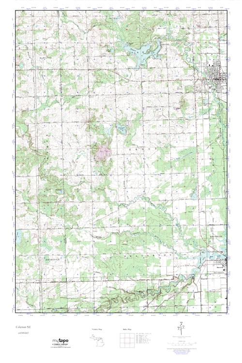 Coleman Michigan Map.Mytopo Coleman Ne Michigan Usgs Quad Topo Map