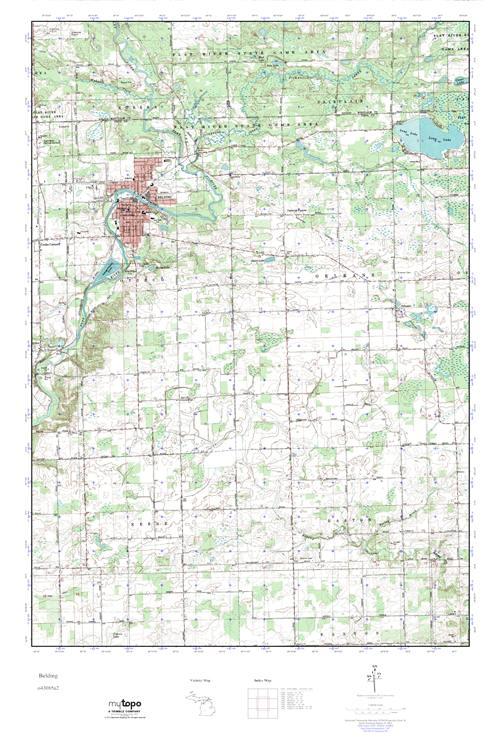 Belding Michigan Map.Mytopo Belding Michigan Usgs Quad Topo Map
