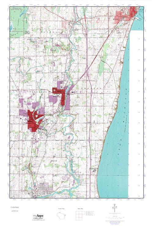 Cedarburg Wisconsin Map.Mytopo Cedarburg Wisconsin Usgs Quad Topo Map