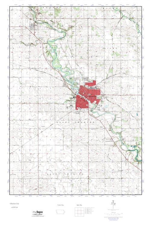 Mytopo Charles City Iowa Usgs Quad Topo Map