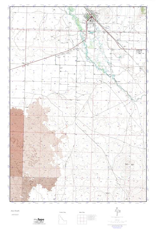 Mytopo Arco South Idaho Usgs Quad Topo Map