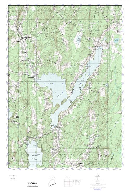 China Lake Maine Map.Mytopo China Lake Maine Usgs Quad Topo Map