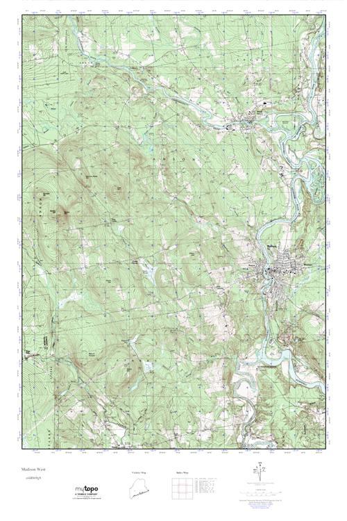 Mytopo Madison West Maine Usgs Quad Topo Map