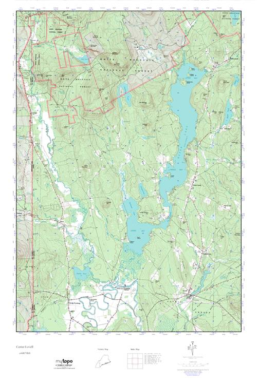 Lovell Maine Map.Mytopo Center Lovell Maine Usgs Quad Topo Map