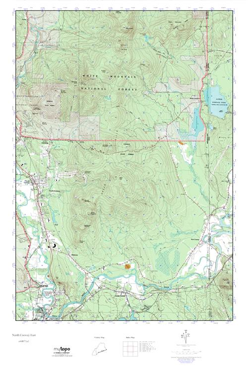 MyTopo North Conway East New Hampshire USGS Quad Topo Map - North convey in us map