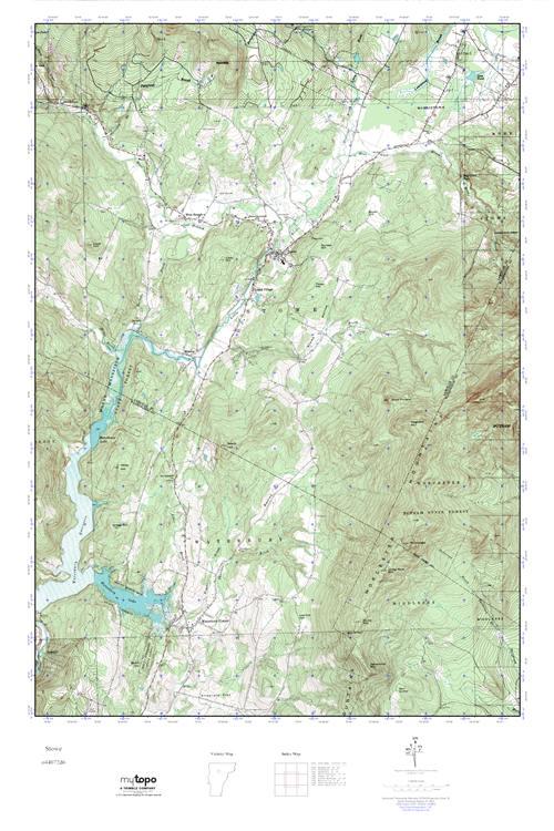 MyTopo Stowe, Vermont USGS Quad Topo Map