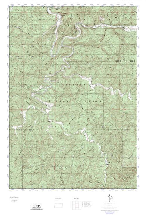 MyTopo Five Rivers, Oregon USGS Quad Topo Map